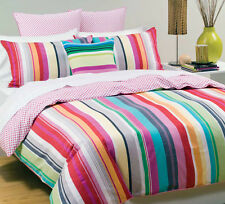 LINEN HOUSE Queen Bed Quilt Cover Set Cabaret Pink Stripe cotton Polka dot back