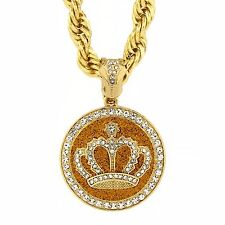 "Mens Gold Tone with Stardust Large Crown Pendant 10mm 30"" Rope Chain Necklace"