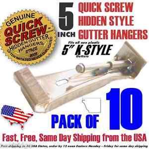"10 5"" inch K Gutter Hidden Hangers includes Pre installed Screw Clip Style New🔨"