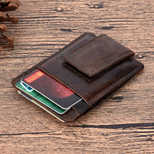 Men Genuine Leather Mini Card Holder Wallet Magnetic Buckle Slim Purse Card Clip