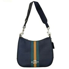 NWT COACH Jes Hobo Varsity Stripe Shoulder Bag Cadet Green Yellow Blue F80643