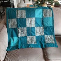 """Patchwork Blanket Handmade Teal Bamboo Print 34"""" x 35"""" Square Lap Quilt"""
