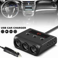 3 Way Car USB Socket Charger 12V Cigarette Lighter Splitter Adapter Power Plug