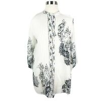 Citron Santa Monica M Medium Shirt White Black Pleated Front Floral Cotton Silk