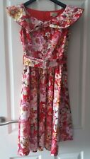 Lindy Bop Red & Pink Floral 50's Rockabilly Dress  Size 8 Petite