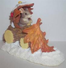 Fitz and Floyd Charming Tails-Snow Plow-Nib-Mouse Plow Oak Leaf-87/566-Adorable!