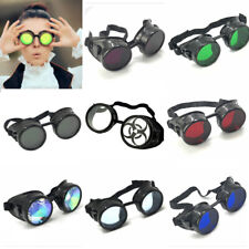 Vintage Steampunk welding goggles rave Kaleidoscope glasses mad scientist cyber