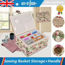 Household Fabric Print Sewing Tools Storage Box Needles Threads Basket +handle
