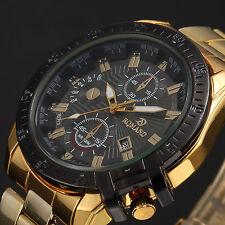 Luxus Herren Armbanduhr Gold Edelstahl Herrenuhr Quarzuhr schwarz Analog Mode