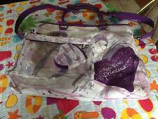 Vera Wang Princess Purple Hearts Tote Bag + Matching Makeup Bag + Heart Purse
