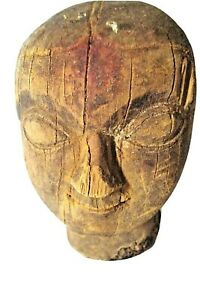 OLD ORIGINAL INDIAN HAND CARVED PAINTED WOODEN TRIBAL LADY MASK COLLECTIBLE