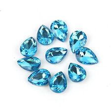 10pcs Teardrop Pendant Faceted Cut Glass Crystal Loose Spacer Beads Making @Keku