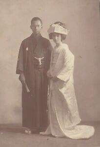 OLD PHOTO ASIA JAPAN JAPANESE WOMAN GLAMOUR WEDDING BRIDE GROOM BX7
