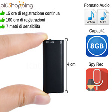 MICRO MINI REGISTRATORE AUDIO ATTIVAZIONE VOCALE 8 GB SPY SPIA AMBIENTALE USB