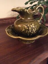 Vintage MCCOY POTTERY Pitcher and Bowl Set Avocado Green