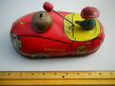 "Vintage 1940s Large 9"" Metal Tin Pull Toy Fire Chief Bell Car T Cohn Superior"