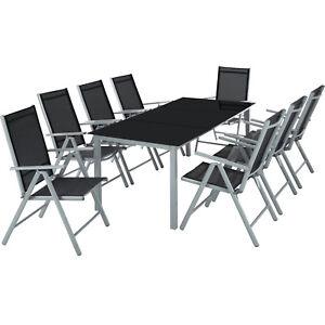 Alluminio set mobili da giardino 8+1 tavolo sedie pieghevole arredo esterno 9 pz