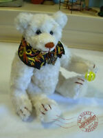 7.5in Artist Teddy ROOSEVELT BEAR Co OOAK elegant rayon hand made Cathy Peterson