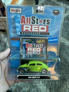 Maisto All Stars Red Green VW Beetle 1:64 Scale Die Cast Volkswagen 2008