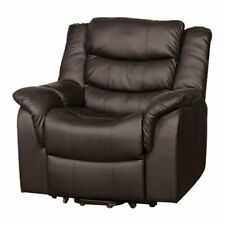 Delreal Brown Faux Leather Electric Recliner Lift Rise & Massage & Heat RRP £999