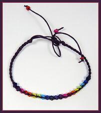 ein Fusskettchen Fußband bunt Unisex Regenbogen Perlen Surfer Naturschmuck NEU