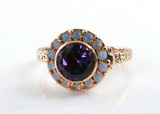 9K 9CT ROSE GOLD LOCKET AMETHYST OPAL ART DECO VINTAGE INS RING FREE RESIZE