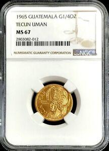1965 GOLD GUATEMALA 1/4 oz TECUN UMAN NGC MINT STATE 67