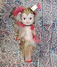 Antique 1920s Celluloid Kewpie Carnival Doll Feathers Flapper