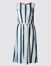 M & S COLLECTION BLUE & WHITE STRIPED BEACH DRESS