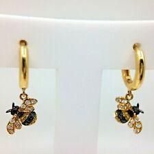 Hoop Earrings Solid 18k Yellow Gold Bee Black White Yellow Diamonds Astonished