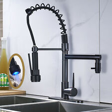 18-inch LED Kitchen Faucet Dual Swivel Spout Mixer Tap Rain Sprayer Hole Cover