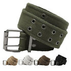 Military Double Prong Canvas Belt, Heavy Duty Army Pistol Grommet Two Hole