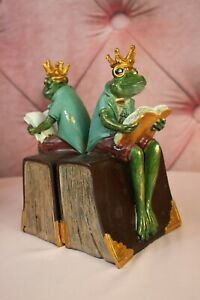 Beautiful Clayre & Eef Bookends with Frog Prince With Book New 23cm New