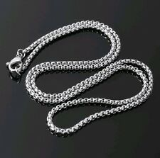 """2mm High Quality Silver 316L Titanium Stainless Steel box Chain Necklace 20"""""""