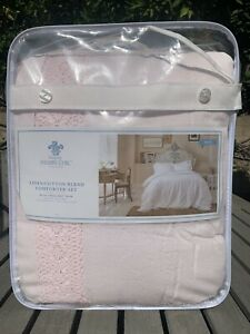 New Simply Shabby Chic LINEN/COTTON BLEND COMFORTER SET KING 3 PIECE SET