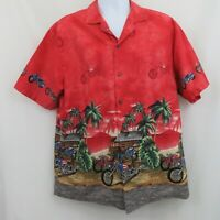 Ky's Border Motorcycle Hawaiian Aloha Shirt Mens XL Red Sunset Cotton