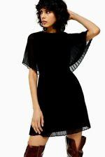 Topshop Black Plated Cape Mini Dress for Women UK 14 EURO 42 US 10 BNWT