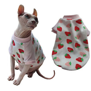 Sphynx Cat Clothes 100%Cotton T-Shirts Pet Pullover Hairless Cat Pajamas Kitten