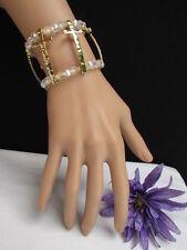 N Women Bracelet Fashion Clear Gold Elastic Metal Crosses Beaded Trendy Jewelry