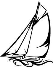 Vela velero marinas Silueta Sticker Etiqueta de vinilo gráfico Etiqueta Negra V3