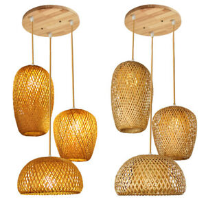 Hand Knitted Bamboo Lamps Pendant Lights Weaving Hanging Home Decor