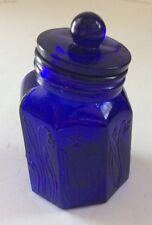 VINTAGE COBALT BLUE GLASS HERB APOTHECARY JAR WITH EMBOSSED FLORAL DESIGN