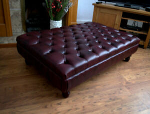 Extra Large Chesterfield  Deep Button Large Footstool in Wine Faux Leather