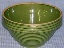 "Vintage # 10 Yellow Ware Green Glazed Ribbed Mixing Bowl. 10 3/8"" diameter"
