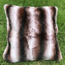 ff811115ca Real Rex Rabbit Fur Brown Black White Striped Pillow   Real Fur Throw  Leather