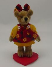 """World of Miniature Bears 2.5"""" Plush Bear Red/Yellow Agnes #5021RY Collectible"""
