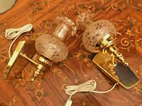 2 Vintage Brass Wall Lamp Beautiful Glass Screen Shades