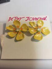 "$25 Betsey Johnson ""luminous Betsey"" Yellow Flower Stud Earrings BJL-30A"