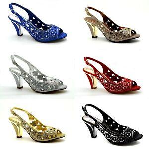 Womens Ladies Low Mid Kitten Heel Diamante Party Bridal Court Shoes Sandals Size