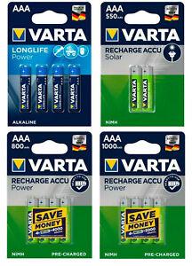 Varta Power Akkus Accus Batterien AAA Micro HR03 LR03 Neuware aus 2021